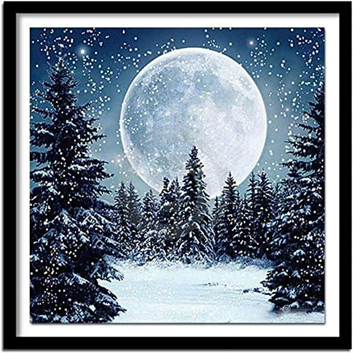 Stamped Cross Stitch Kits for Adults Beginner-Pine Snow and Moon,DIY Designs Cross-Stitch Easy Supplies Needlework,Needlepoint Embroidery Gift for Home Decor -16 20 inches