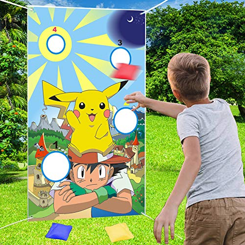 NIDEZON Pikachu Toss Games with 4 Bean Bags, Kids Party Games Fun Indoor Outdoor Games,Birthday Party Decoration Supplies