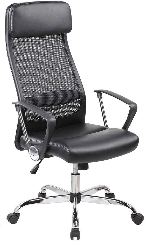 Eurostile High-Back Executive Mesh Leather Office Chair Adjustable Ergonomic Chair Swivel Desk Chair w Headrest (8045-BKPU)