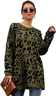 Rvxigzvi Women Casual Loose Leopard Print Sweater Knit Pullover Top