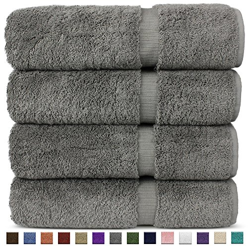 Chakir Turkish Linens Hotel amp Spa Quality Highly Absorbent 100% Turkish Cotton Bath Towels 4 Pack Gray