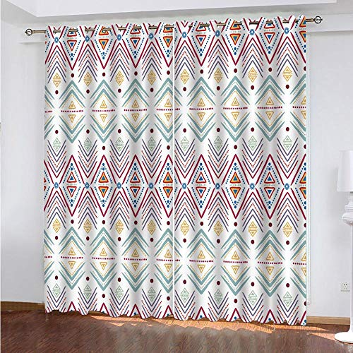 IVIHGK Cortinas Opacos Impresas 3D 2 Paneles Triángulos geométricos Coloridos Aislantes Térmicas Cortina con Ojales Sala de Estar Dormitorio Habitación Infantil Decorativo 264x242 cm(ANxAL)
