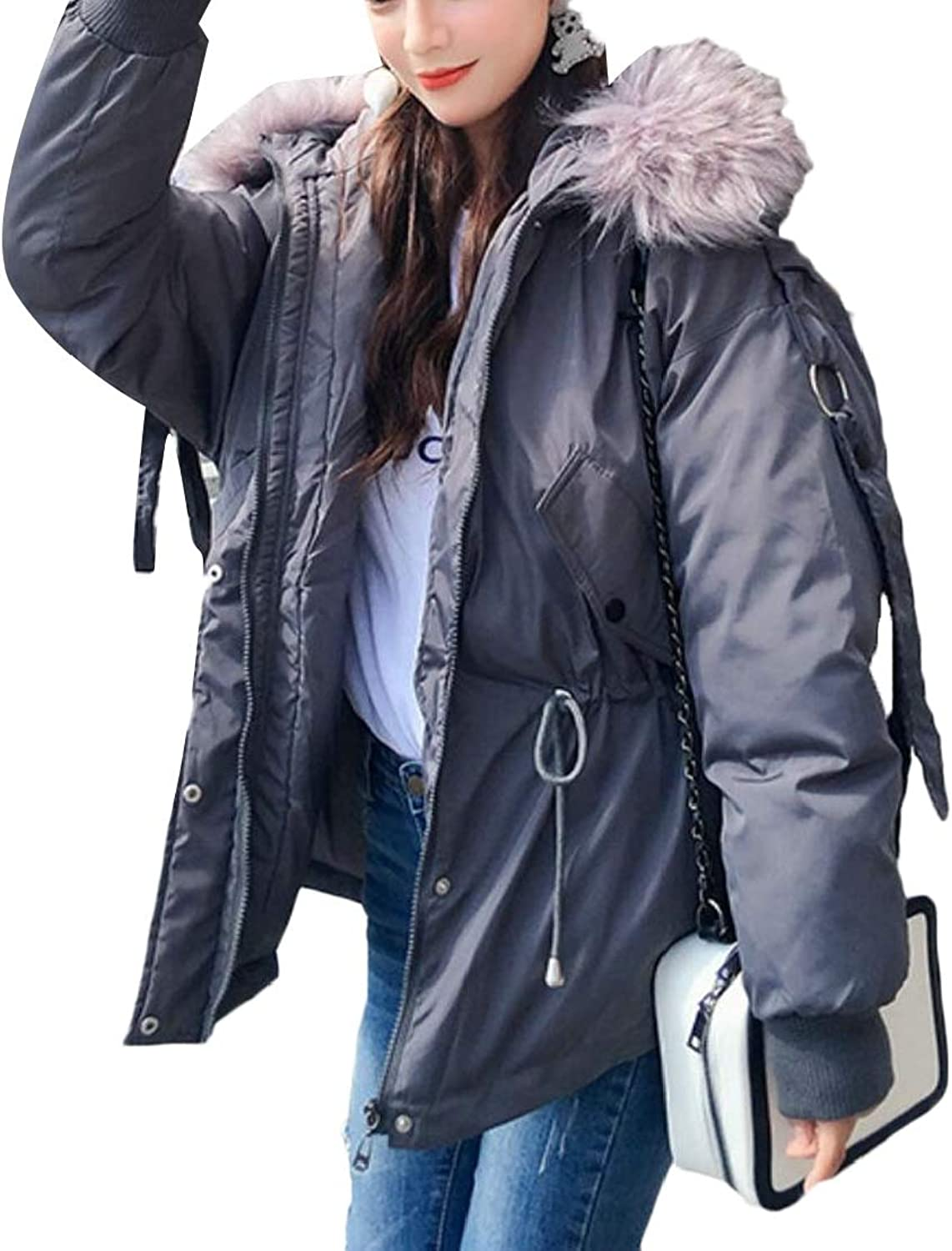GenericWomen Padded Relaxed Fit Warm FauxFur Collar Zip Casual Down Jacket Coat