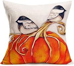 Smilyard Fall Throw Pillow Covers Yellow Pumpkin with Lovely Bird Watercolor Throw Pillow Cover Decorative Home Sofa Animal Plant Cotton Linen Pillow Case Cushion Cover 18x18 Inch (Pumpkin-Bird)