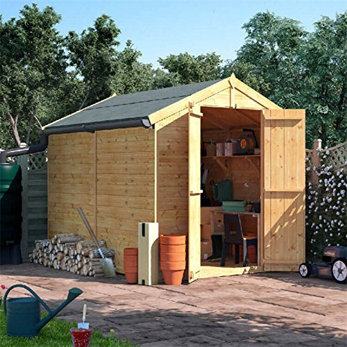 BillyOh Master Tongue & Groove Wooden Garden Shed Apex Roof, Felt Included, Windowed/Windowless, Multiple Sizes (Windowless, 8x6)