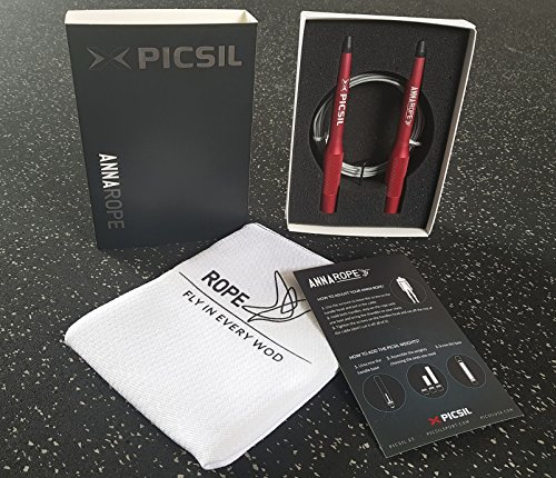 PICSIL X Anna Professional Weighted Jump Rope, Skipping Rogue for Double Unders, Cross Training, Boxing, Fitness, Easy Set Up, No Tools Needed, Weights Not Included