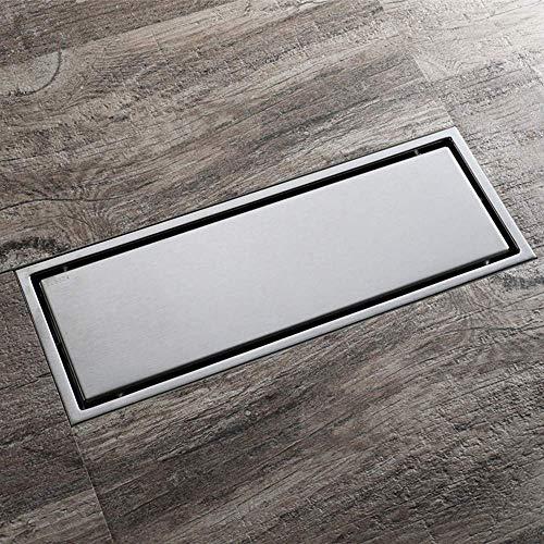 ZXL Anti-Clog Rechthoek RVS Vloer Afvoer Badkamer Douche Tegel Vloerrooster Met Verwijderbare Cover Voor Keuken, Wasruimte, Garage En Kelder 300X110mm