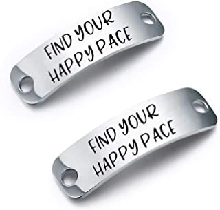 SEIRAA Find Your Happy Pace Shoe Lace Tag Running Jewelry Trainer Tag Sports Gift for Runner