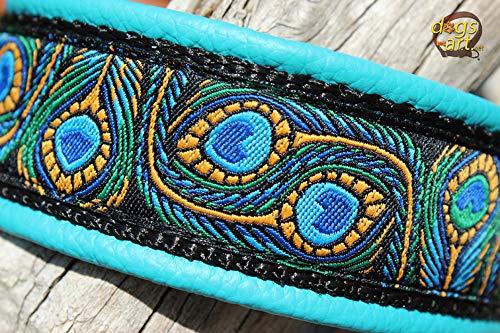Hundehalsband Leder Peacock Türkis Schwarz Blau Gelb Silber Klickverschluss Alu Hundehalsband mit Gravur