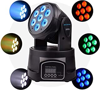 Betopper DMX 512 Stage Mini Moving Head Lighting 7x8W LED Spot DJ Light Professional 9/14 Channel 4 in 1 RGBW Lights 100W AC 100-240V Strobe Effect for Club,Wedding,Church Event,Home Party etc