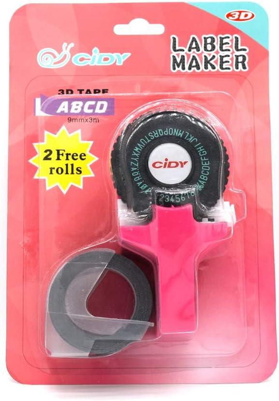 con plastica PVC Mini etichettatrice manuale portatile 9 mm Nero 3D per stampante in rilievo Aibecy per fai da te