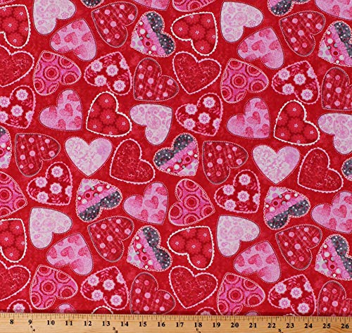 Cotton Heart Hearts Polka Dots Flowers Valentine Valentine's Day Love Tossed on Red Hearts of Love Cotton Fabric Print by The Yard (D660.04)
