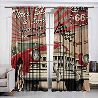 Alston Bertha Cars Blackout Curtain Tires Shop and Service Route 66 Emblem Advertisement Retro Style Poster Print 2 Panel Sets W52 x L84 Inch Red Grey Sepia