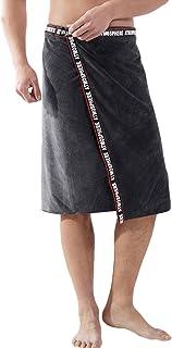 RUIXIA Serviette de Sauna Homme Serviette de Bain Microfibre Drap de Bain Doux et Adsorbant Peignoir Homme Court Serviette...