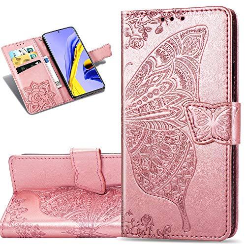 COTDINFOR Etui für Nokia 7.2 Hülle PU Leder Schutzhülle Magnet Tasche Flip Handytasche im Bookstyle Kartenfächer Lederhülle für Nokia 6.2/7.2 Flower Butterfly Rose Gold SD