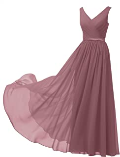 3fc01dbe2e Alicepub V-Neck Chiffon Bridesmaid Dress Long Party Prom Evening Dress  Sleeveless