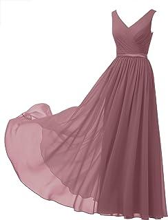 708ae57f16c Alicepub V-Neck Chiffon Bridesmaid Dress Long Party Prom Evening Dress  Sleeveless