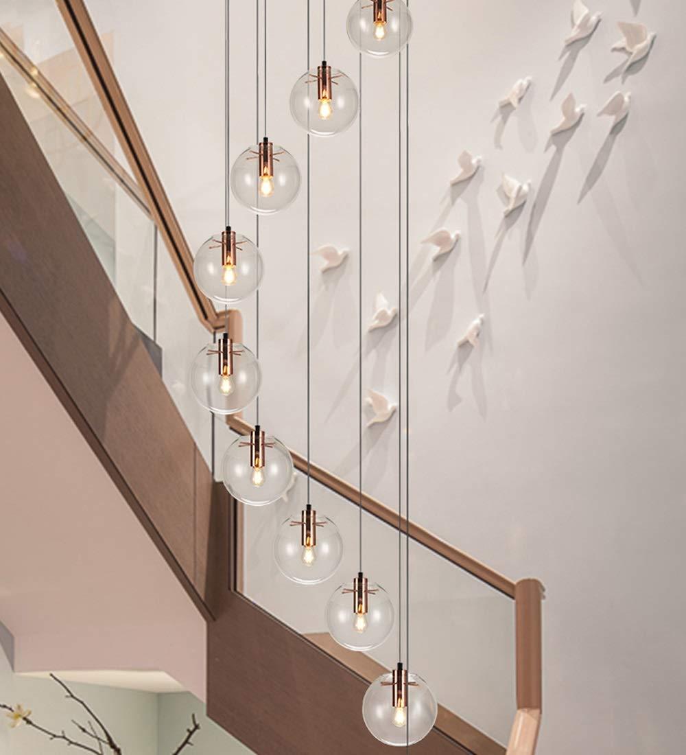 Minimalista Escalera de caracol Araña larga Moderna Creativa Hotel Villa Escalera Araña Bola de cristal Simple Lámpara de techo de techo alto Sala de estar Restaurante Araña 10 Luces 55x200cm: Amazon.es: Hogar