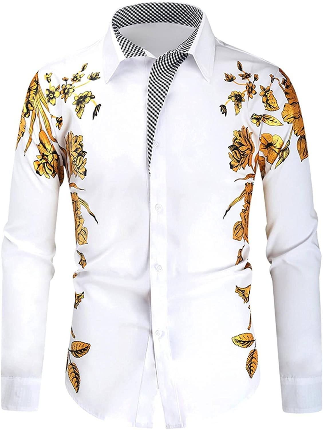 Men's Dress Shirts Novelty Bronzing Embroidered Printed Tops Casual Lapel Button Down Blouse Slim Fit Business Tshirt