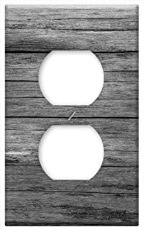 Switch Plate Outlet Cover - Board Wood Grey Grain Texture Structure Old
