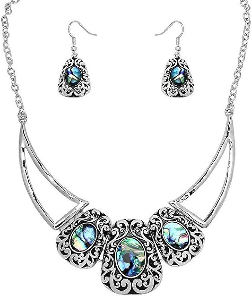 Silver Abalone Quality inspection Oklahoma City Mall Shell Teardrop Collar Design Contemporary Pendant