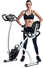 BCAN Folding Exercise Bike, Magnetic Upright Bicycle with Heart Rate, Speed, Time,..