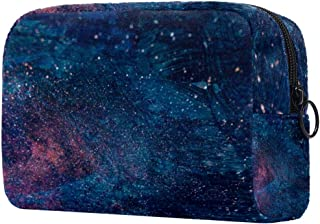 Makeup Bag Toiletry Bag for Women Blue Painting Skincare Cosmetic Handy Pouch Zipper Handbag