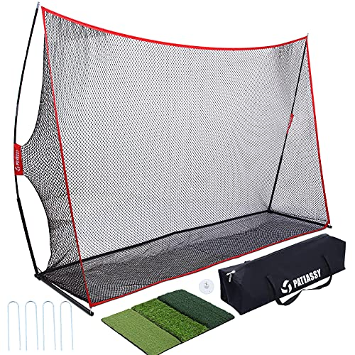 Patiassy Golf Net 10 X 7 Golf Practice Net 7-ply Knotless Netting Golf Nets for Backyard Driving with Tri Turf Mat and Carry Bag