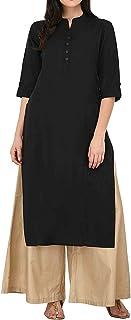 ladyline Women's Pure Cotton Plain Tunic Top 3/4 Sleeves Roll-up Button Neck with Pocket Long Kurti Kurta