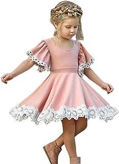 1c1bd431ff861 Rawdah Robe de Princesse en Dentelle à Manches Courtes Enfants Bébé Filles  Robe Dentelle Floral Robe