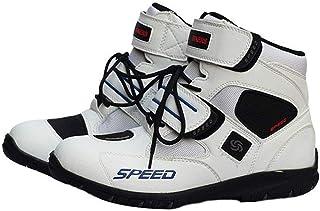 SPEED BIKERS ショ トブ ツ メンズ オ トバイ靴 バイク靴 バイク用レ シングブ ツ ライディングシュ ズ レ シングブ ツ 分厚いプロテクショロ ドブ ツ スポ ツブ ツ (26-26.5cm)42サイズ ホワイト