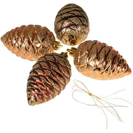 Amazon Com Clever Creations Christmas Pinecone Ornament Set Beautiful Gold And Copper Pine Cones 4 Pack Festive Holiday Décor Classic Design Shatter Resistant Hangers Included 50mm Home Kitchen
