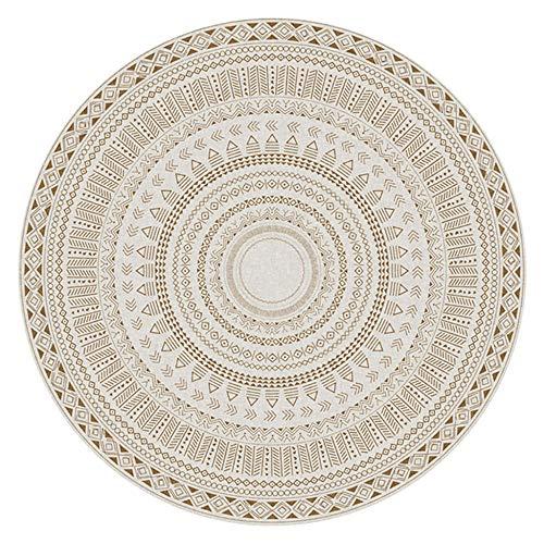 WJW-DT Tapis Rond Beige Tapis bohème 80100120140160200250 300cm de diamètre intérieur Tapis de Sol Lavable en machine-80 cm