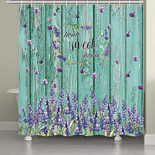 """MERCHR 72""""X72"""" Rustic Floral Shower Curtain, Farmhouse Lavender Flower Shower Curtain for Bathroom, American Country Farm Style Teal Shower Curtain with Hooks"""