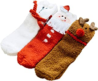 Amosfun, 3 pares de calcetines cálidos de Navidad para llevar calcetines de otoño invierno de forro polar coral
