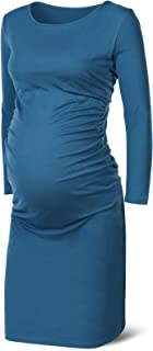 Rnxrbb Women's Long Sleeve Maternity Dress Casual Pregnancy Dresses Ruched Side Warm Mama Clothes