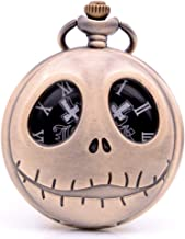KDJSTORE Hollow Skeleton Jack Nightmare Before Christmas Pocket Watch with Necklace Chain for Kids Mens Xmas Birthday Gift