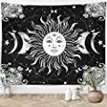 "Sun Moon Tapestry Starry Night Wall Hanging Moon Landscape Constellations Lunar Phases Bohemian Eclipse Black and White Wall Decor Astrology Galaxy Boho Celestial Tapestry (Sun, 59""x79"")"