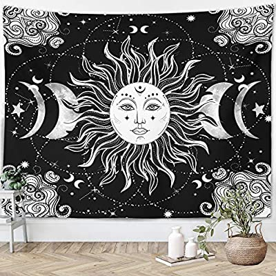 "Sun Moon Tapestry Starry Night Wall Hanging Moon Landscape Constellations Lunar Phases Bohemian Eclipse Black and White Wall Decor Astrology Galaxy Boho Celestial Tapestry (Sun, 51""x59"")"