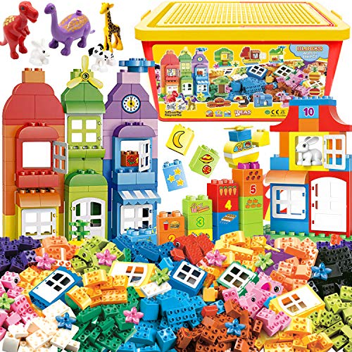 Big Building Blocks 166 Pieces with Storage Box   Large Bricks Set Educational DIY Classic Construction Toy for Kids, Compatible with Major Brands