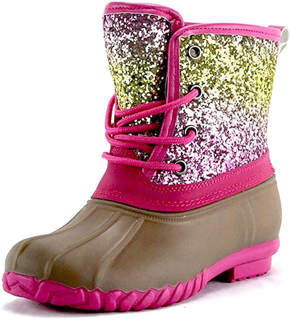 Girls' Rainbow Glitter Duck Boots