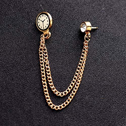 DAIMINNN Trenduhr Brosche Pin Abzeichen Goldkette Medaille Brosche Trendy Herrenanzug Kragen Anstecknadel Herrenschmuck Zubehör |Brosche