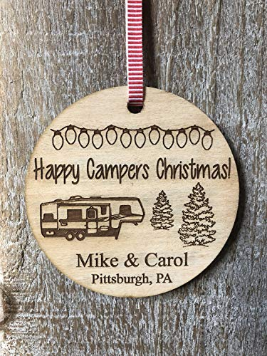 Toll2452 Camping Gift Happy Campers 5th Wheel Campsite Sign Personalized Gift Tree Ornament Christmas Tree Christmas