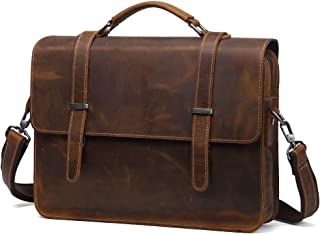 Genuine Crazy Horse Leather Mens Business Leather Bag Briefcase for Men Work (Color : Brown, Size : 15 inches)