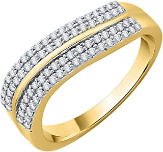 3 Diamond Wedding Band in 10K Yellow Gold Size-7.75 1//10 cttw, G-H,I2-I3