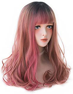 Long Wavy Red Ombre Wig - Lolita Bang Wig Highlights with Dark Root For White Women, Natural Red Synthetic Hair Wig Great For Cosplay, Party and Daily