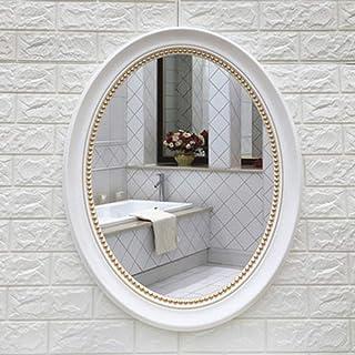 YBGW Espejos De Pared Decorativos Espejo De Baño Ovalado Vintage con Marco Sin Perforar Simple Colgante De Pared Tocador Decorativo Espejo De Maquillaje Espejo De Belleza-57 * 72 Blanco Más Oro