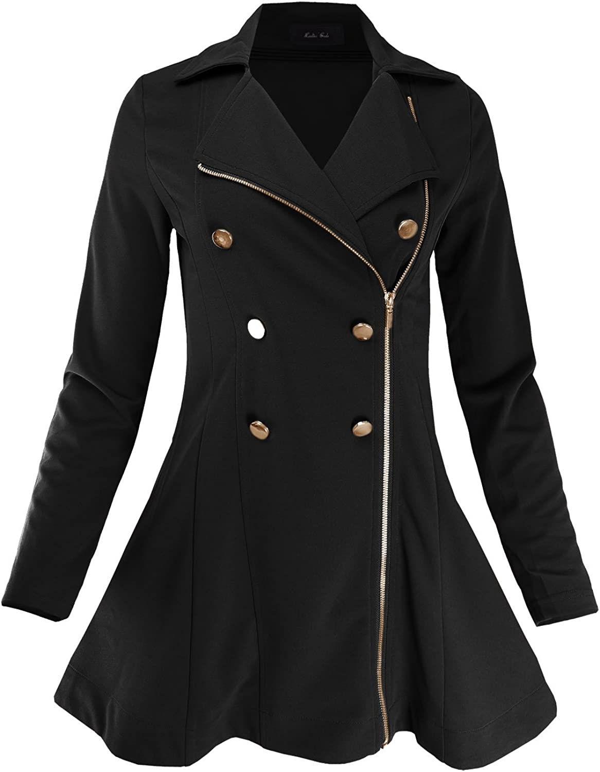 Ladies' Code Women's Double Breasted Zip Up Fit & Flare Peacoat Trenchcoat