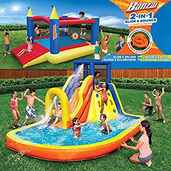Inflatable Water Slide & Bounce House  Combo Pack  - Huge Heavy Duty Outdoor Kids Adventure Park Pool with Built in Sprinkler Wave and Slide PLUS Large BONUS 12'x9' Bounce House - FREE Blower Included