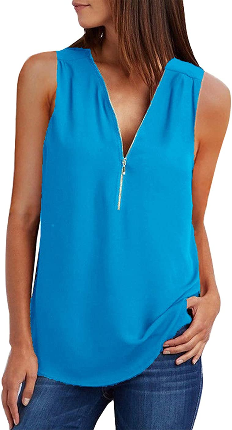 GRASWE 25% OFF Women's Free Shipping Cheap Bargain Gift Chiffon Blouse Casual Solid T Zipper V Neck Shirt